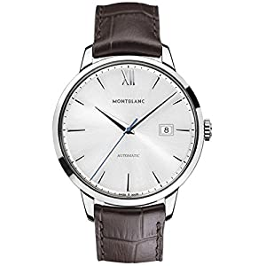 Montblanc 111580 41mm Automatic Stainless Steel Case Brown Leather Anti-Reflective Sapphire Men's Watch