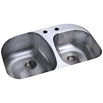 Sterling 11723-2-NA Cinch 31-1/2-inch by 20-1/2-inch Under-mount Large/Medium Double Bowl Kitchen Sink, Stainless Steel