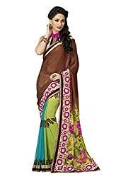 Look N Buy Beautiful Blue & Green Coloured Embroidered Saree