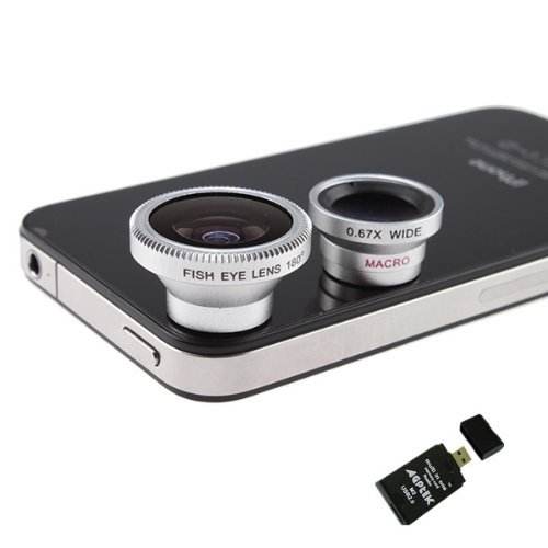 3 in 1 Camera Lens Kit Designed for Apple iPhone 4 4S iPad (Fish Eye Lens, Wide Angle + Micro Lens) w/ AGPtek® USB 2.0 All in One Card Reader
