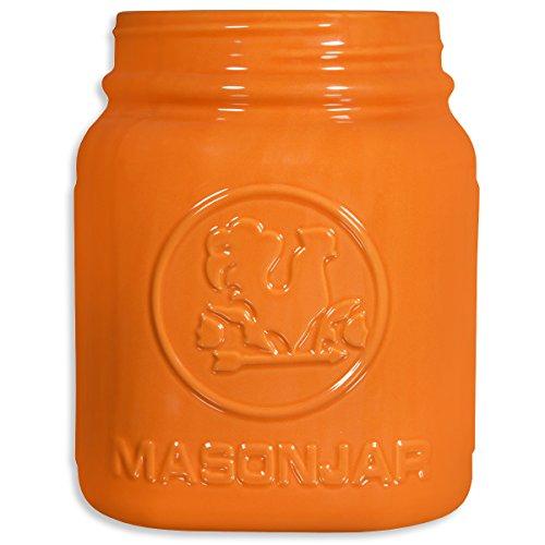 Home Essentials Mason Jar Utensil Holder, Orange, 8