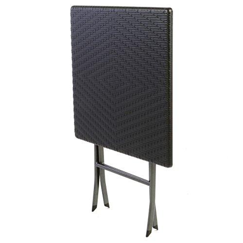 tisch in rattan optik balkontisch gartentisch klapptisch schwarz 61 x 61 x 75 cm eckig. Black Bedroom Furniture Sets. Home Design Ideas