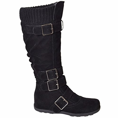 Womens Mid Calf Knee High Boots Ruched Suede Knitted Calf Buckles Rubber Sole black SZ 6