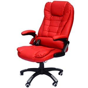 HomCom Executive Ergonomic PU Leather Heated Vibrating Massage Office Chair