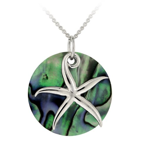 Sterling Silver Abalone Disc and Starfish Pendant Necklace , 18