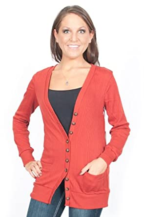 Alki'i Lightweight Lowneck Womens Cardigan Sweater with Front Pockets - Rust, XL
