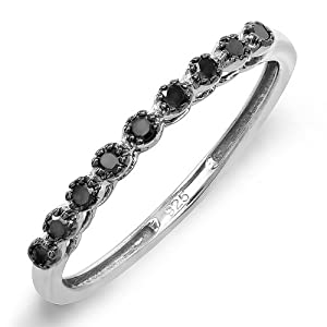 Sterling Silver Round Black Real Diamond Wedding Anniversary Band