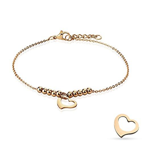 Braccialetto a forma di cuore & palline oro in acciaio inox per donna (cinturino in acciaio inox bracciale da donna uomo bracciale braccialetto in acciaio chirurgico Gioiello rosa perline)