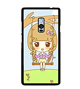 Printvisa Animated Sweet Girl On A Hammock Back Case Cover for One Plus Two::One Plus 2::One+2