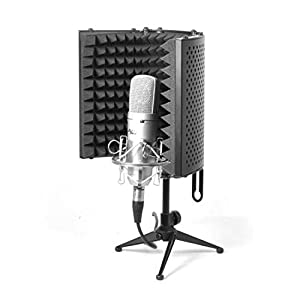 Pyle PSMRS08 Compact Microphone Isolation Shield, Studio Mic Sound Dampening Foam Reflector by Sound Around