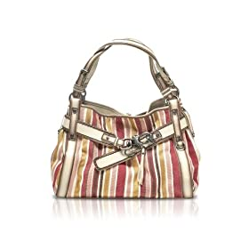 Francesco Biasia Sidney - Large Striped Cotton & Eco-Leather Satchel Bag Vanilla