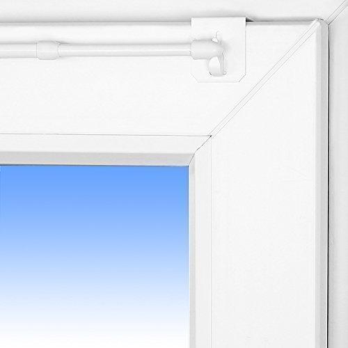 Dekohaken24 tringle à rideaux design extensible de 80 à 120 cm - 1 paire de supports de 2 crochets blanc 20-23 mm idéal pour dreifachverglasung pour fenêtre