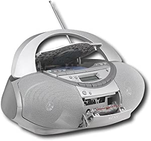 Sony Portable Mega Bass CD Boombox Sound System with Cassette Player/Recorder Digital AM/FM Radio Tuner, Remote Control, Headphone jack, LCD Display, CD/Cassette Dubbing, Silver Finish