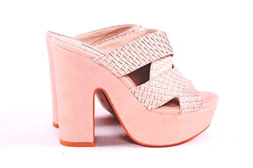 J314K FRANCESCO MILANO sandalo intrecciato tacco alto (37, Ghiaccio)