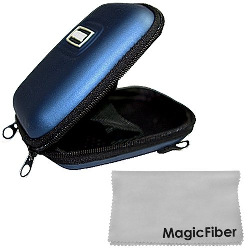 New Digital Camera Hard Carry Case (Blue) For Sony Canon Casio Jvc Cameras + Magicfiber Microfiber Cleaning Cloth