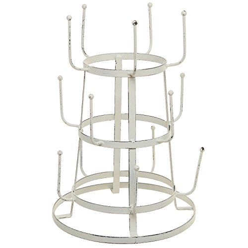 MyGift Vintage Distressed Off White Iron Mug / Cup / Glass Bottle Organizer Tree Drying Rack Stand (Vintage Irons compare prices)