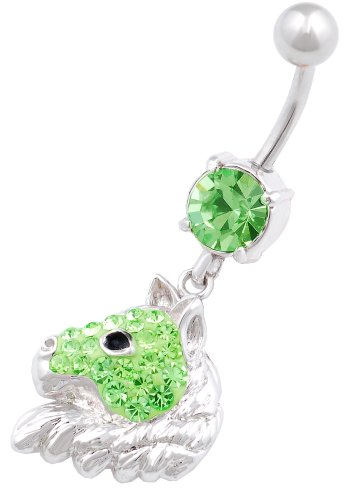 316L Surgical Steel Horse 2 Dangle Navel Ring 14 Gauge 3/8 Cute Belly Button Bar Piercing Jewelry Beku