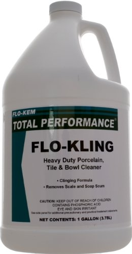 Flo-Kem 366 Flo-Kling Heavy Duty Porcelain and Tile Cleaner with Bubble Gum Scent, 1 Gallon Bottle, Green