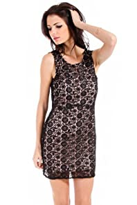 Shaish Lined Black Floral Laced Overlay Dress in Pink