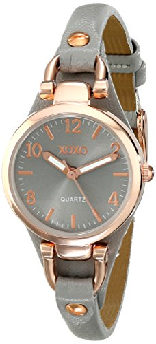 XOXO-Womens-XO3400-Round-Gray-Watch-with-Narrow-Faux-Leather-Band
