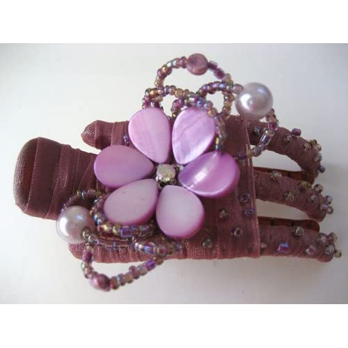Magenta Purple Daisy Flower Seashell Hair Barrette Clip