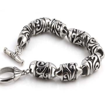 10MM TOUGHEST GOTHIC 316L STAINLESS STEEL ASIAN HAWAIIAN DESIGN BRACELET 8in-9in (8 Inches)