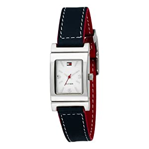 Tommy Hilfiger Women's 1700161 Reversible Red and Navy Leather Strap