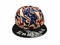 Krystle England Snapback Baseball Hat Cap with Union Jack Design Print