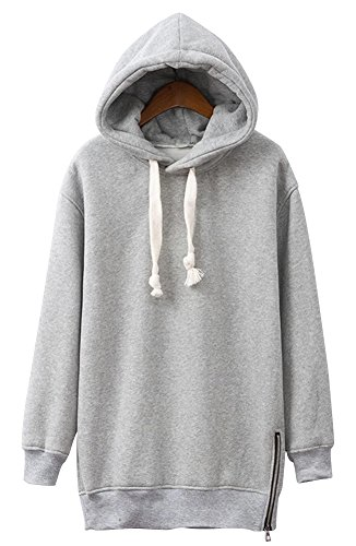 Nuoyan Women'S Pure Color Loose Cotton Lined Winter Sweatshirts With Hood 3Xl White