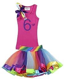 Bubblegum Divas Little Girls\' 6th Birthday Purple Rainbow Tutu Outfit 9-10