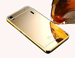 Droit Luxury Metal Bumper + Acrylic Mirror Back Cover Case For Lenovo A7000 Gold + Flexible Portable Thumb OK Stand by Droit Store.