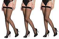 Women's Black Thigh Length Stockings (Pack of 3) -Free Shipping & COD Available