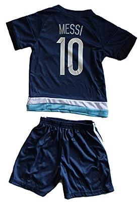 2015 Argentina Away Leo Messi 10 Football Soccer Kids Jersey & Short