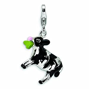 Sterling Silver 3-D Enameled Eating Cow with Lobster Clasp Charm