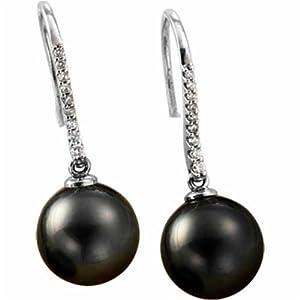14kt White Gold Black Tahitian Pearl and Diamond Hook Earrings