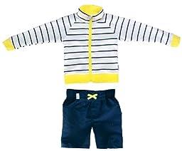 SwimZip® Little Boy Long Sleeve Zipper UV Protective Rash Guard Set Yellow 4T