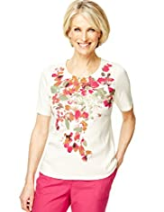 Classic Collection Pure Cotton Floral Placement Top
