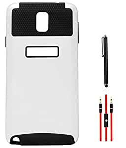 DMG Dual Layer Hard Back Cover with Soft Skin for Samsung Galaxy Note 3 N9000 (White-Black) + AUX Cable + Stylus