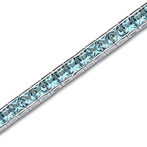 Full of Sparkle 16.75 carats total weight Princess Cut Swiss Blue Topaz Gemstone Tennis Bracelet in Sterling Silver Rhodium Nickel Finish by Peora