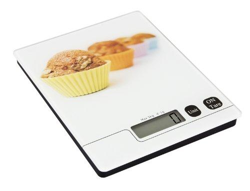 Util'Home 6210456 Balance Electronique pour Cupcake Verre Blanc/Décors 5 kg