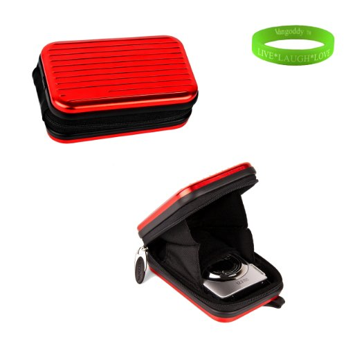 Red Metal Case with Swivel Carabineer and clip for your Nikon Cool Pix S70 + Green Vangoddy Bracelet!!!