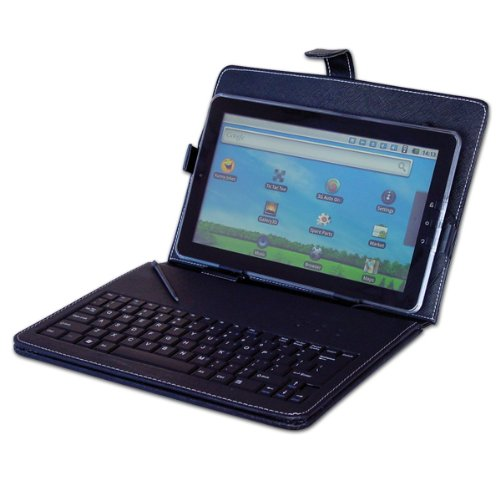 New 10″ / 10.2″ Inch Black Leather Look Case + USB Keyboard With Free Stylus & Stand Feature For Protection Of Your 10″ or 10.2″ Tablet PC ePad aPad Device