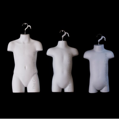 Infant + Toddler + Child White Mannequin Forms Set - Use With Boys & Girls 9mo-7 Kid sizes