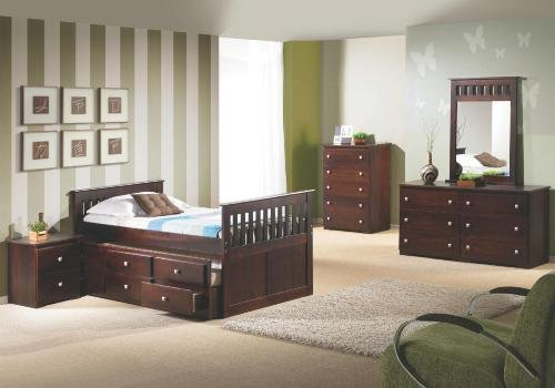 Donco Cappuccino Twin Mission Captains Bed