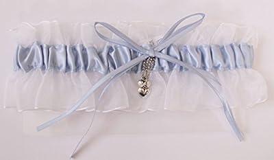 Blaues Strumpfband für Hochzeit mit Schleife und Herzen