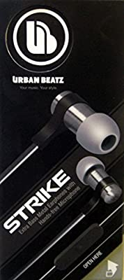 Urban Beatz Strike UB-EM400-10T Extra Bass Metal Two-Tone Black/Grey Earphones with Hands-free Microphone