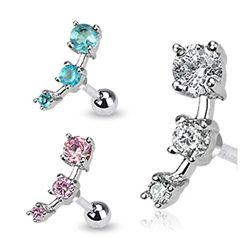 """{Clear} Stainless Steel Triple Cz Droplet Tragus/Cartilage Piercing Stud - 16Ga 1/4"""" Long (5Mm Ball)"""