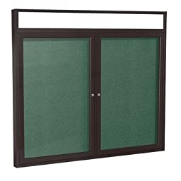 2 Door Outdoor Enclosed Bulletin Board Size: 4\' H x 5\' W, Frame Finish: Bronze, Surface Color: Spruce