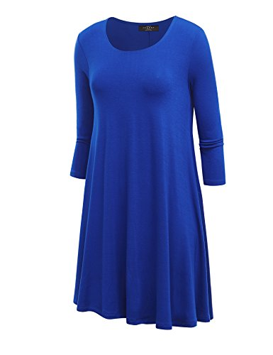 LL WDR930 Womens Round Neck 3/4 Sleeves Trapeze Dress with Pockets XXL ROYAL_BRITE