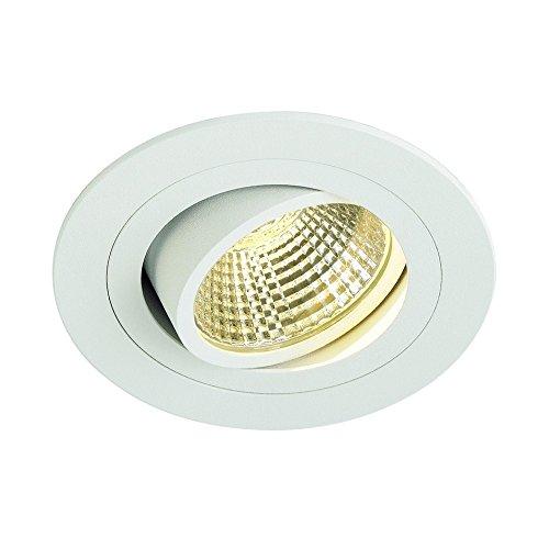 SLV LED Deckeneinbaustrahler New Tria DL Set, rund, 13W, COB, 2700K, 38 Grad, inklusiv Treiber, Clipfedern, weiß 114221